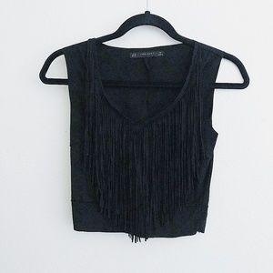 ZARA BASIC Black V-Neck Fringe Crop Tank Top